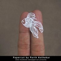 miniature papercut - gold fish by ParthKothekar