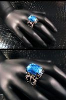 Aqua Marine gem filigree ring by AngelElementsEtsy