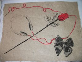 Handmade paper-rose, headphones, ribbon by TheJinMu