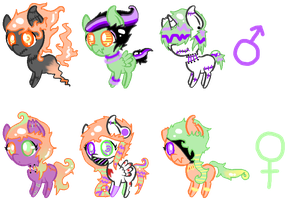 Halloween pony adopts :D by pastelbubbles