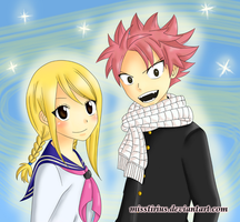 [Colouring] Natsu and Lucy in uniform by misstirius