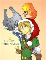 Link and Midna at Christmas by felegund