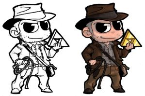 Chibi - Indy + Triforce by ElectroCereal