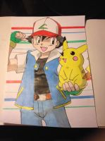 Ash and Pikachu by Karina-o-e