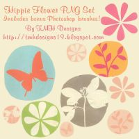 Hippie Flowers Photoshop Brush and PNG Set by frenzymcgee