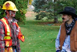 Cowboy vs. Construction Worker by FallingClockwise
