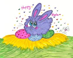 HappyEasterPurple Bunny by Kittychan2005