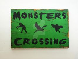 Monster Crossing Halloween Wooden sign by SchumArt