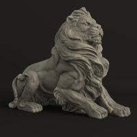 New 3D Asset: Standing Stone Lion by cvbtruong