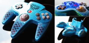 custom zora-blue flake N64 controller by Zoki64