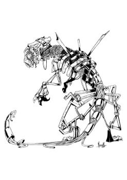 Metal Golem Black and White by Maaralk