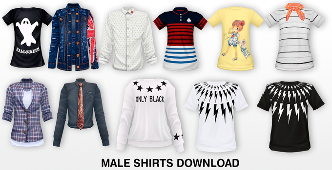 MMD Male Shirts DL by UnluckyCandyFox
