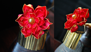 Scarlet and Gold Lotus by hanatsukuri