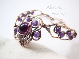 Purple Fantasy Bracelet - Copper Wire by AliZariaJewelry