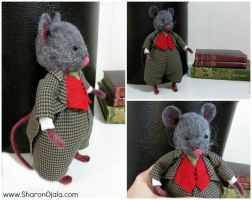 Fabric and Needle Felted Mouse by sojala