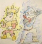 Golden Sparkster and Supercharged Aqua by Artooinst