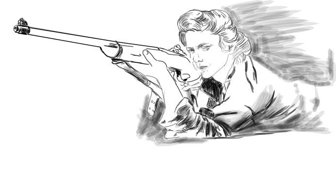 [sketch] Woman Shooting by atrac1990
