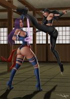 Commission: Psylocke vs X-23 by iurypadilha