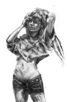 Sketch of a girl by mindschnapps