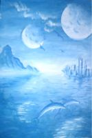 Landscape with double moon by DeCORinASON