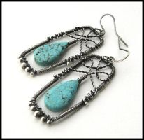 silver turquoise earrings by annie-jewelry