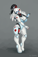 Cyber nurse sci-fi concept OC white android robot by Xianetta