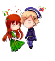 Aph Contest entry- Ireland and Norway Chibi by Quenixy