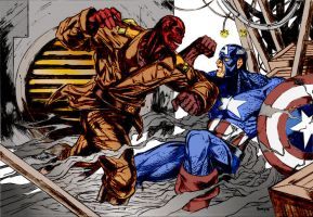 Captain America VS Red Skull by deathpiece