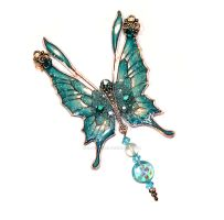 Crystal Fairy Wings Necklace in Aqua by glittrrgrrl