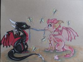 Blessed Friendships: Ember and Cynder by FoxDragonLover
