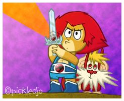 Lion-O and Snarf by pickledjo