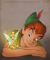 Peter Pan and Tinker Bell by chocolatecherry