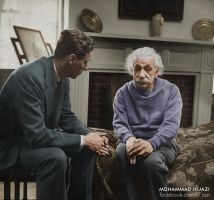Einstein with his Therapist - Colorized Version by 7jazi