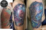 Old Tattoo Coverup with the new one by munlyne