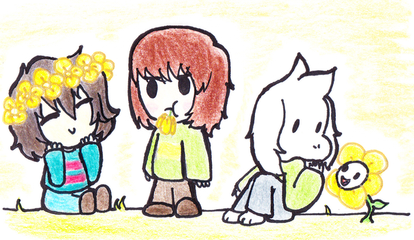 Kids and golden flowers by marex184