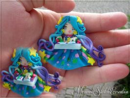 Arcade Sona Commission polymer clay Pendant by DarkettinaMarienne