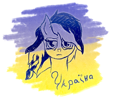 Sad pony Ukraine by AlexOrangel