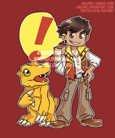 Tyler and Agumon by hielorei