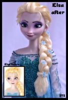 repainted ooak singing snow queen elsa doll. by verirrtesIrrlicht