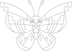 Lineart of Vivillon with the monsoon pattern by InuKawaiiLover