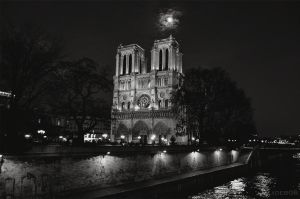 Notre-Dame under the moon by olideb08