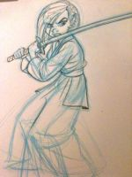 Asian girl with a sword by tombancroft