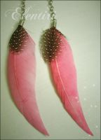Pink Speckled Feather Earrings by Aeltari