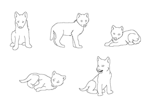 Ms Paint Friendly Free Lineart: wolf cubs by HappyDucklings