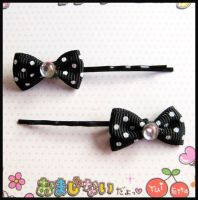 Black Bow Hair Bobby Pins by cherryboop