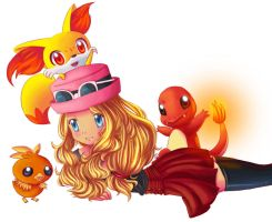 Serena And 3 Fire Starters by KawaiiHarukaChan