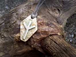 Eolh Protection Norse Rune Pendant by savagedryad