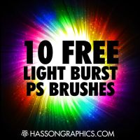 10 Free Hi-Res Light Burst Photoshop Brushes by jhasson