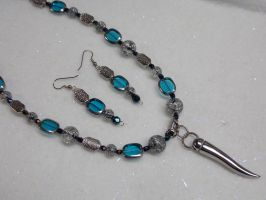 CUSTOM Aqua Silver Tooth Pendant Necklace/earrings by whsprluv69