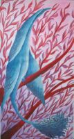 blue bird on a red tree by BlackJeanne